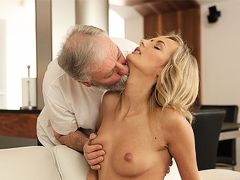 OLD4K. Beauty takes part in passionate coitus with...