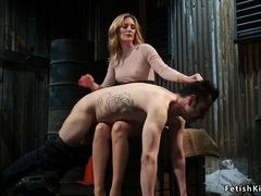 Blond Hair Lady butt sex fucks guy with clamped chopper