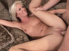 Hot blonde masturbating her tight cunt while getting boned doggy style