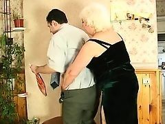 Fat Russian grandma is fucked with guy