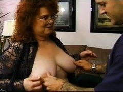 Old redhead woman fucks with young man