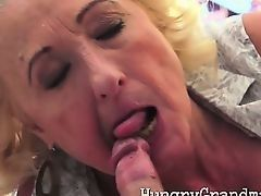 Fat old woman greedy sucks cock as in youth