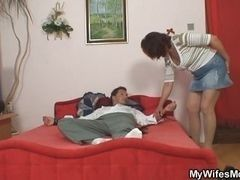 Tied up husband will fuck wife and her stepmom