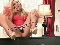 Blond British slut arranges show