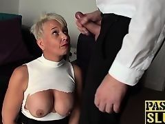Young man hardly fucked aging blonde with big melons