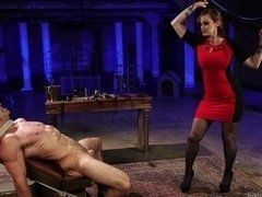 Mature mistress Gia DiMarco whips lash tied up man in porn clip