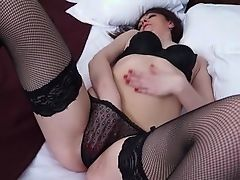 Sexual dark-haired mature playing with herself.