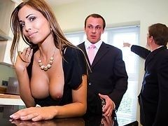 Busty wife swinger cheats with young realtor while husband watches the new house