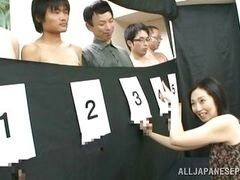 Five hard cocks for milf on Japanese porn of show