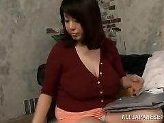 Japanese milf shows her silk panties