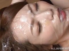 Bukkake for dirty Japanese slut