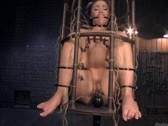Christina was locked in cage and fucked in all perverted ways in porn BDSM