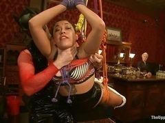 Latin is fucked hardly in bondage over floor
