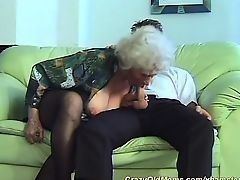 Young fellow likes to drill the horny old grandma