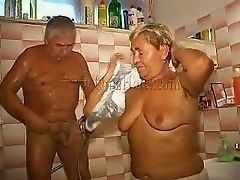 Old couple in shower