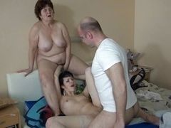Brunette's fucking while her granny looks
