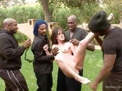 Four Blacks fuck white milf in park